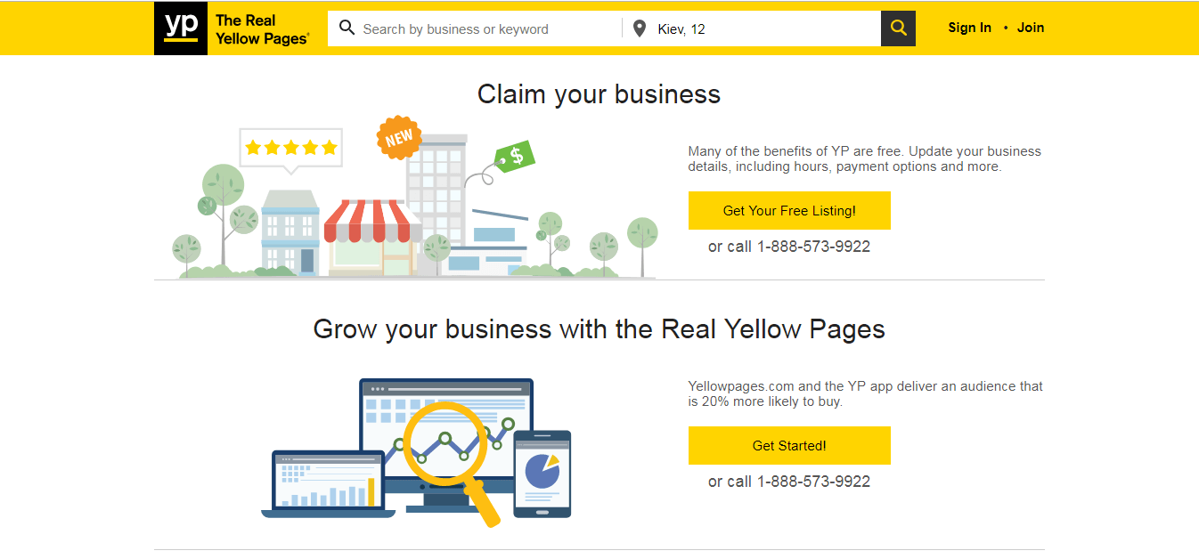 yellow pages website