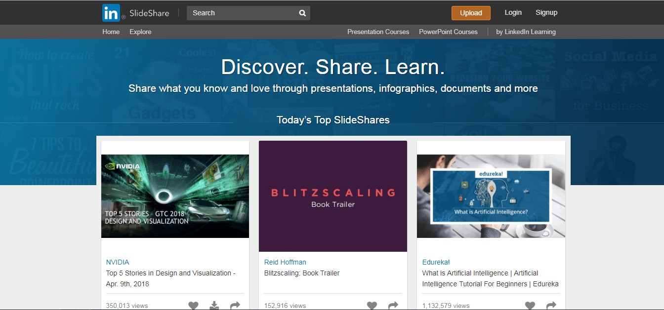 Slideshare website