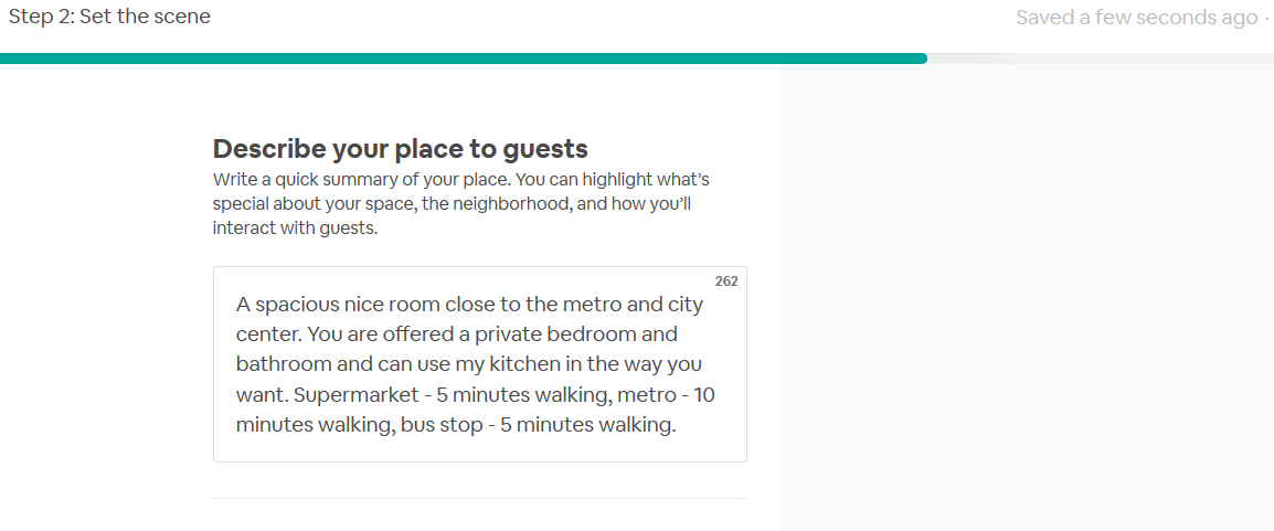 sample airbnb description