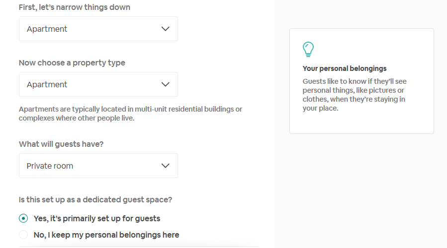 airbnb settings sample