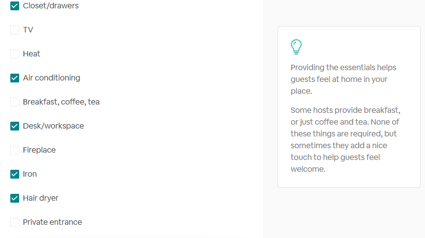 airbnb sample amenities