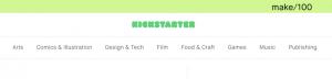 Crowdfunding platform: Kickstarter Categories