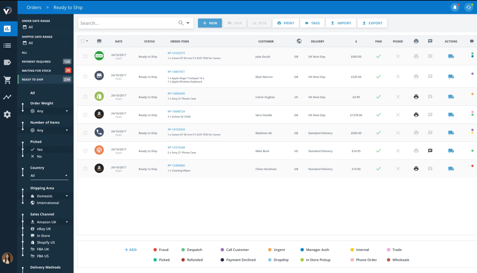 Veeqo - Orders page