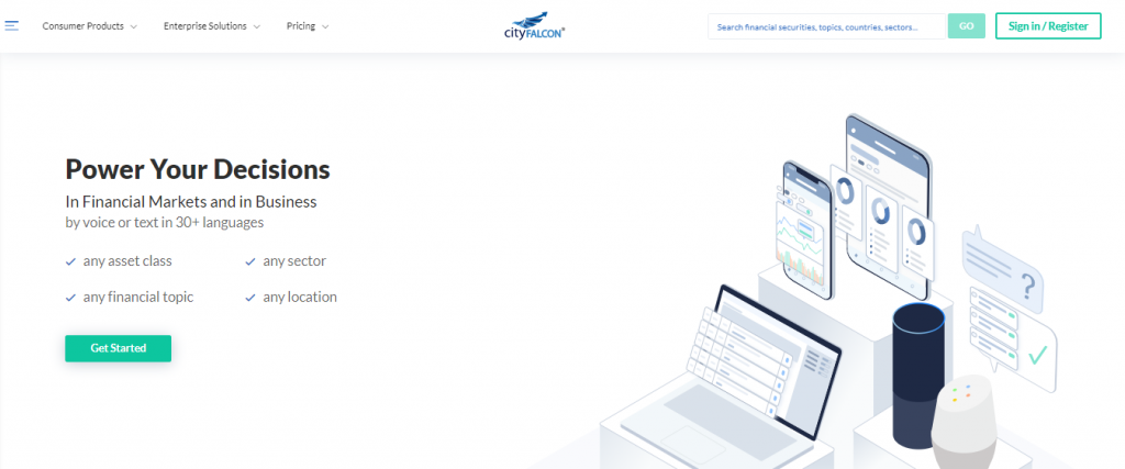 CityFalcon is a financial news aggregator