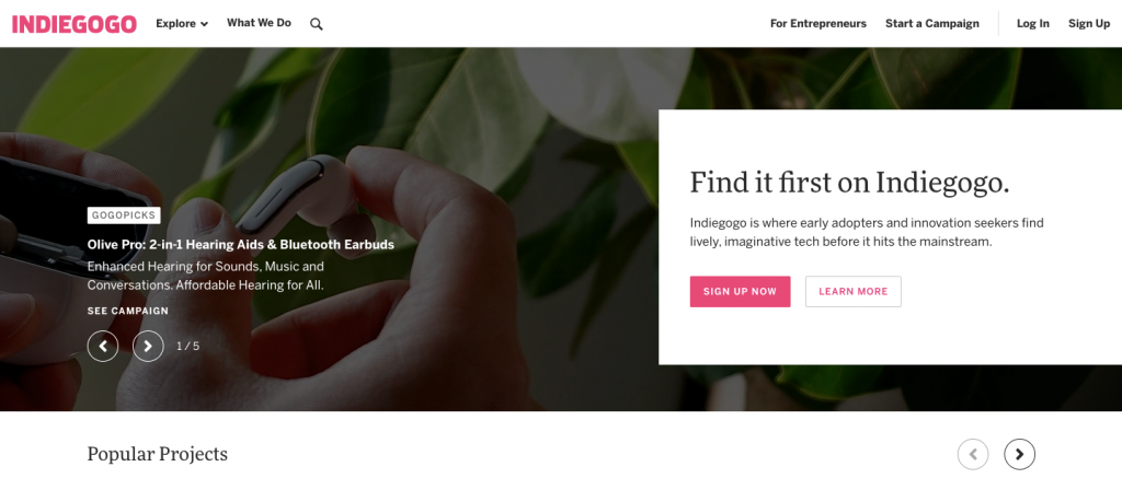 indiegogo homepage