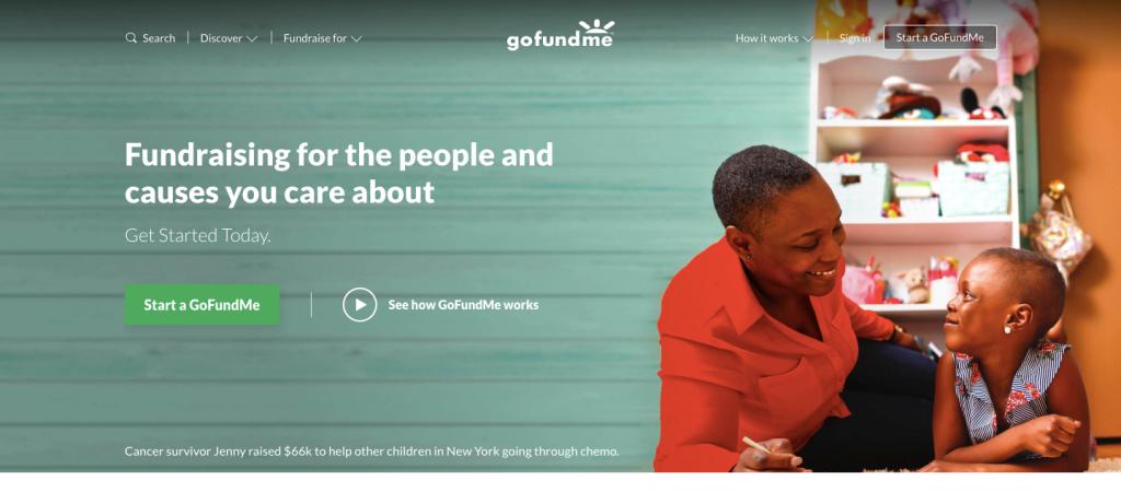 gofundme homepage
