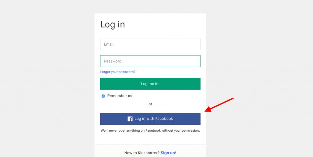 Crowdfunding platform: Kickstarter Log-in/Sign Up Feature