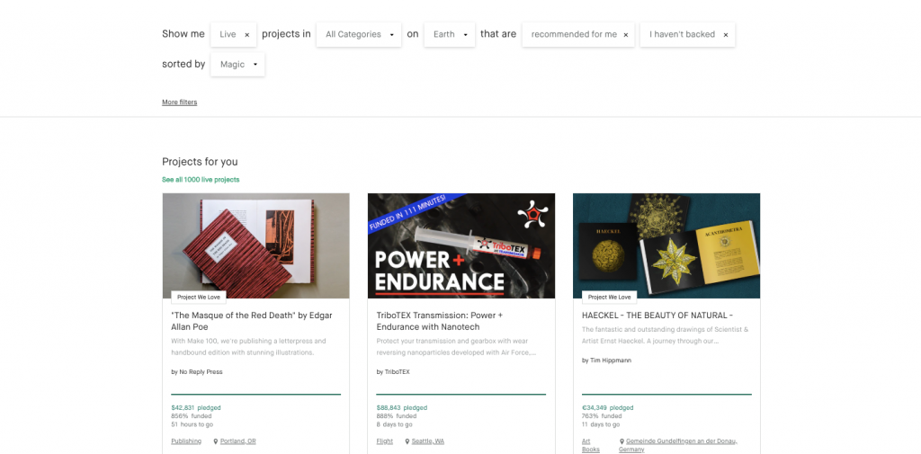 Recommended Projects Section