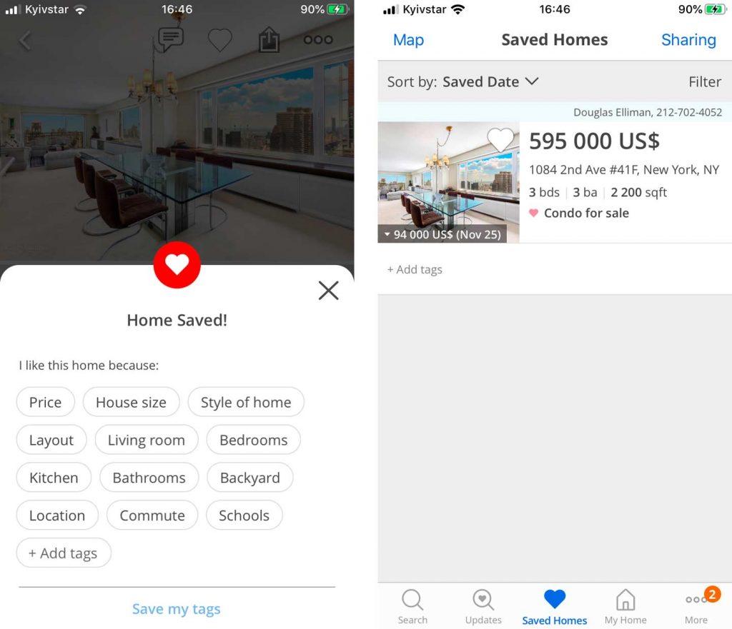 real estate mobile app development favorites