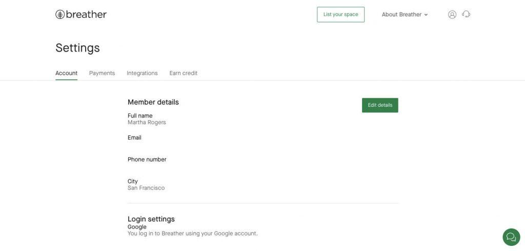 rental marketplace: host account