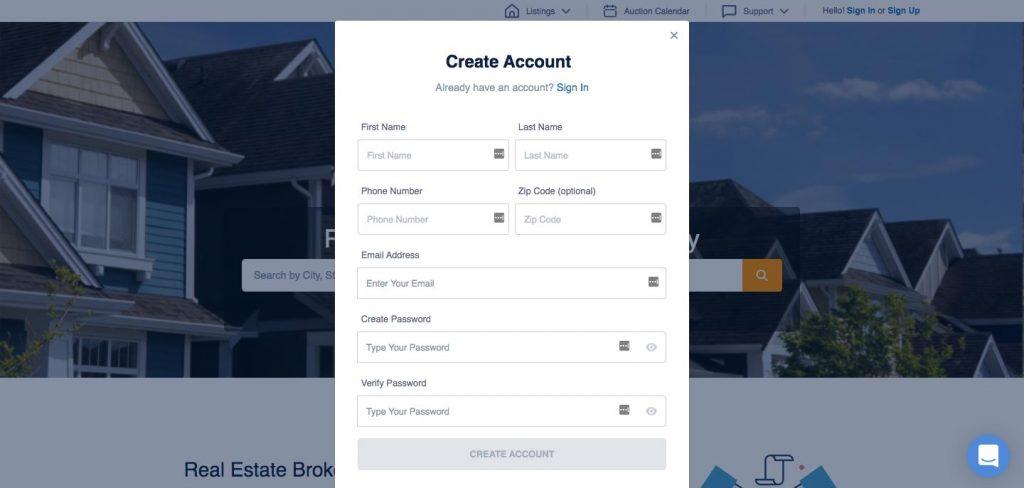 How to Build an Auction Platform for Real Estate: registration