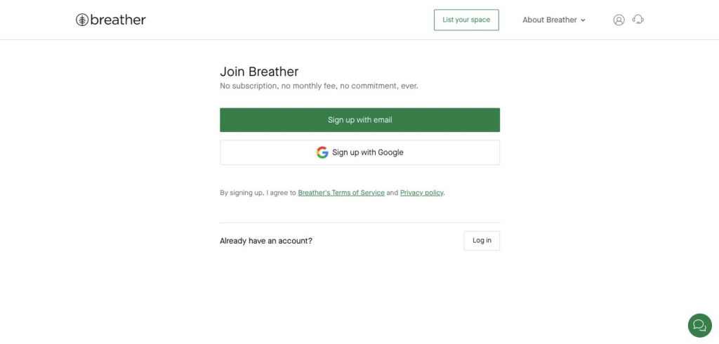 rental marketplace: breather registration