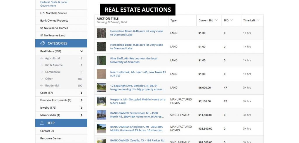 How to Build an Auction Platform for Real Estate: current bidding listing