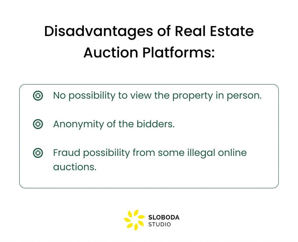 real estate auction website disadvantages