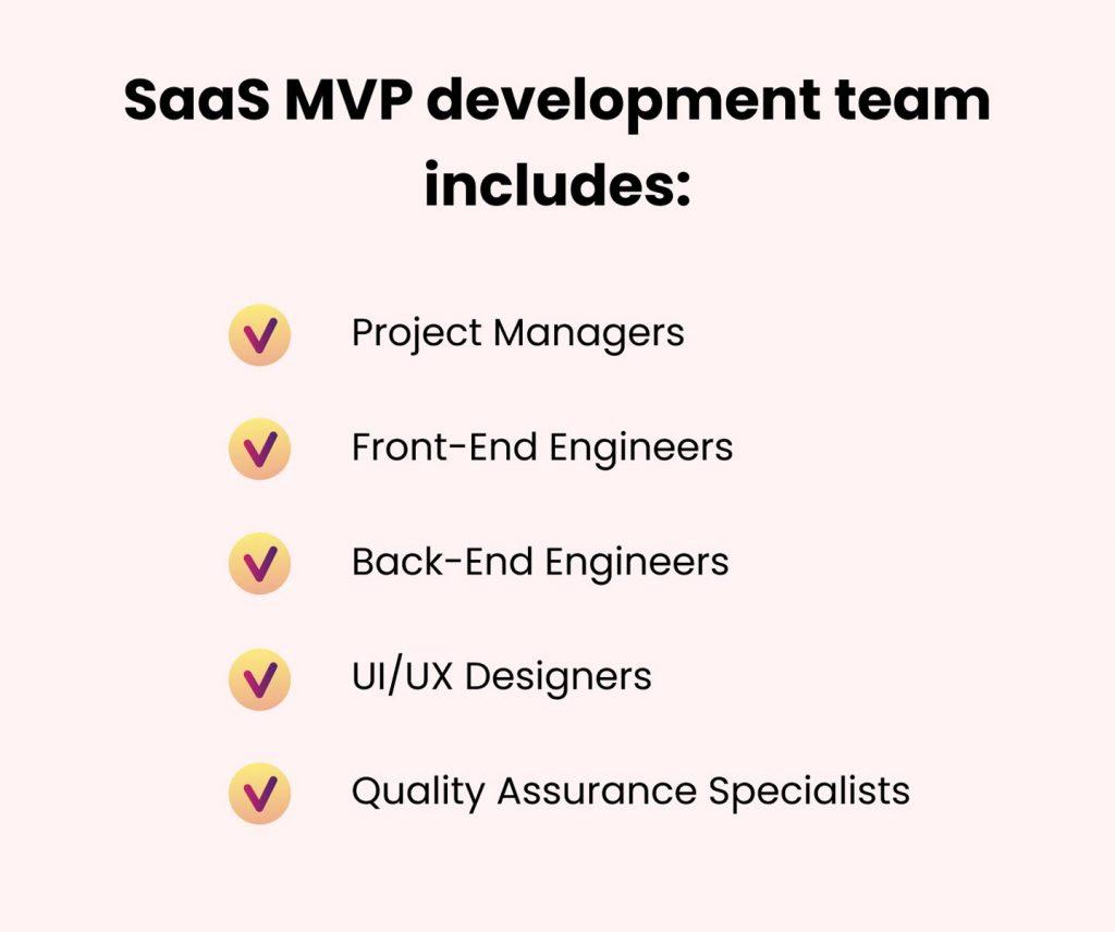 create mvp for saas startup: development team