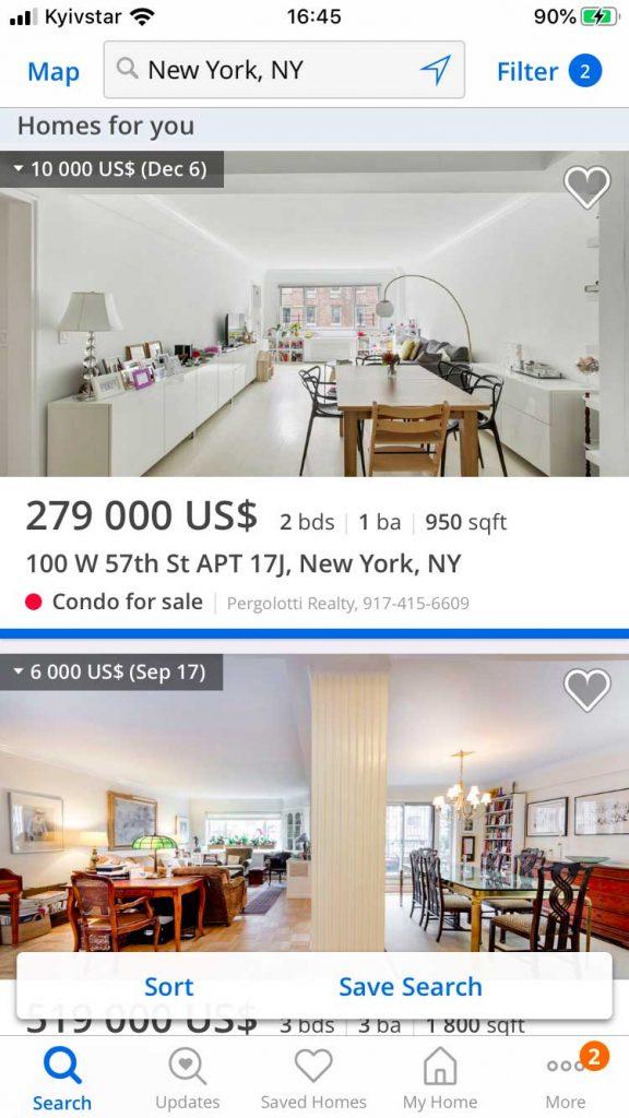 real estate mobile app development listings