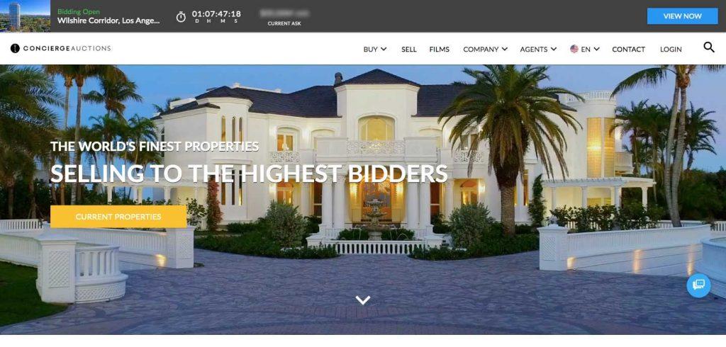 concierge auctions homepage