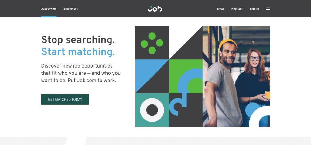 how to build a job search website: job.com homepage