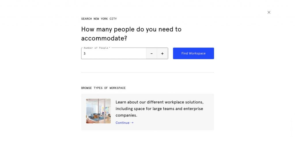 Space-as-a-service business model: wework search system