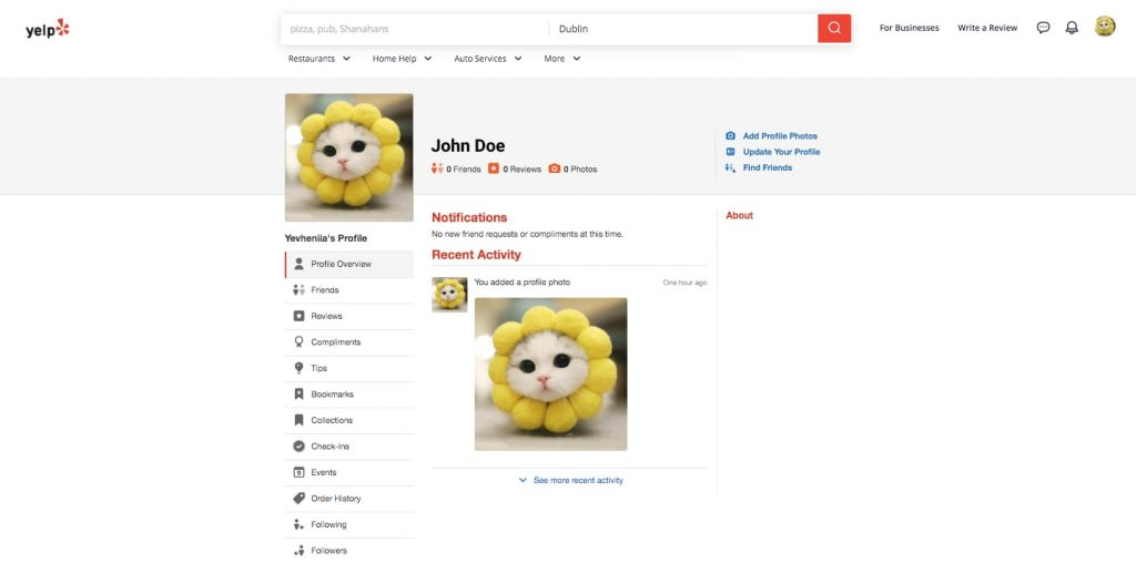 create a review app like Yelp: personal user account