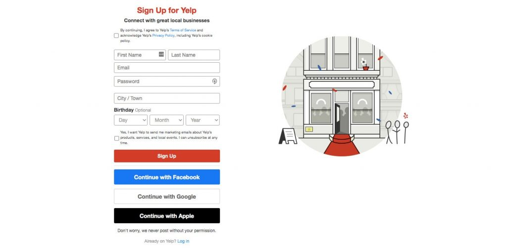 create a review app like Yelp: registration and login