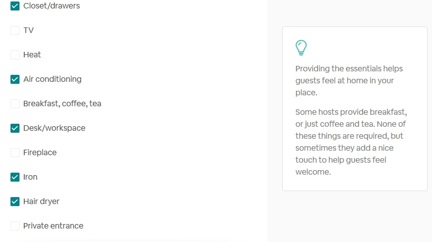 airbnb sample amenities