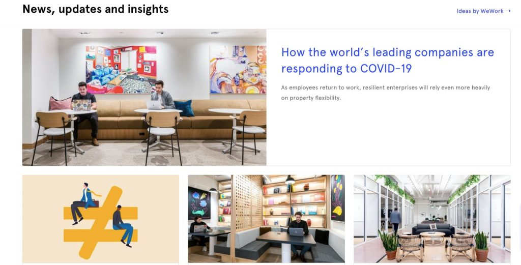 Space-as-a-service business model: wework homepage