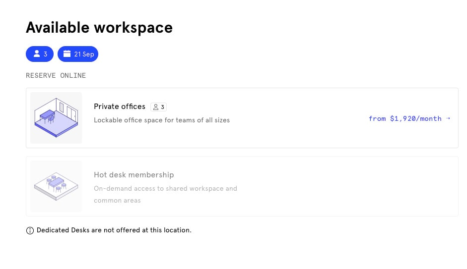 Space-as-a-service business model: wework booking system