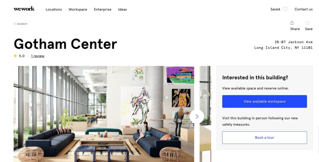 Space-as-a-service business model: wework office page