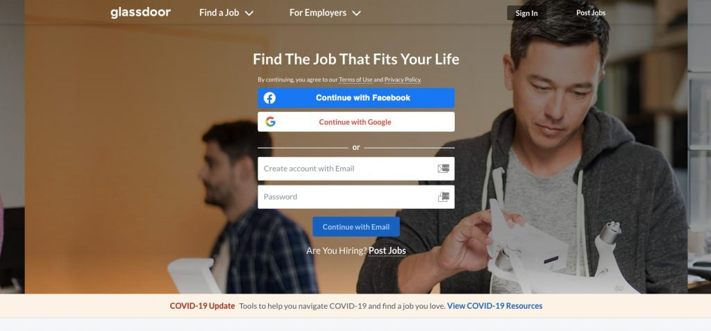 how to build a job search website: glassdoor homepage