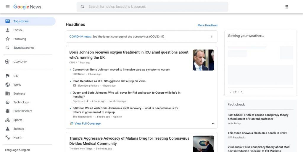News Aggregator Website: Google News Feed