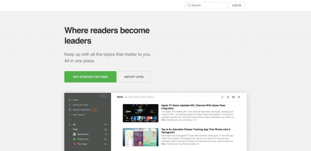 How to Create a News Aggregator Website: Feedly main page