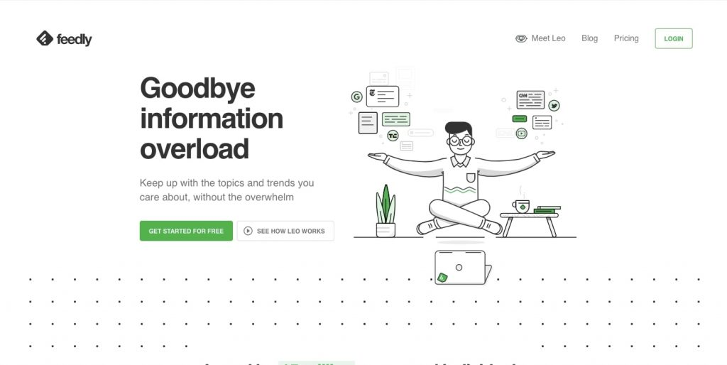 News Aggregator Website: Feedly Homepage