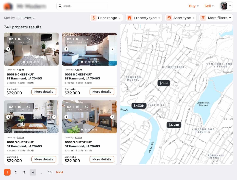 real estate auction platform navigation